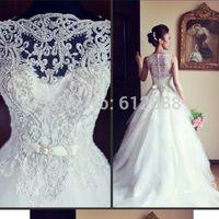Fashion Style Floor Length Court Train Beading Top White Organza Zipper Back Customize 2014 Ball Gown Wedding Dress 2014