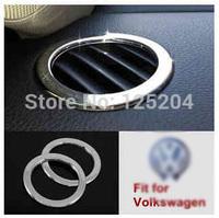 2pcs volkswagen Sagitar car air outlet bright silver decoration circle Passat air outlet decoration sequins circle free shipping