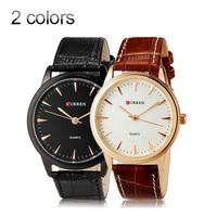 Dress watch Men quartz watches Unisex Fashionable  gold Simple Style Water Resistant Quartz WristWatch Faux Leather Band CURREN