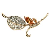 Fashion Jewelry Crystal Rhinestone Leaf Brooch