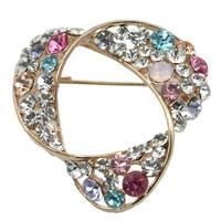 Simple Style Multi Crystal Rhinestone Trangle Brooch