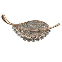 Delicate Crystal Rhinestone Leaf Brooch For Women