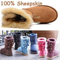 2014 Australia Real Sheepskin Children Baby Toddler Fur Winter Ankle Snow Girls Boots Mini Kids Bailey Bow Hot Pink Blue Black