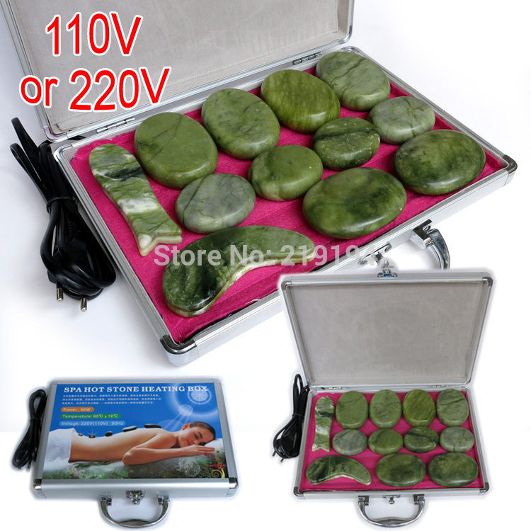 High quality 14pcs/set jade body massage hot stone face back massage plate SPA with heater box(China (Mainland))