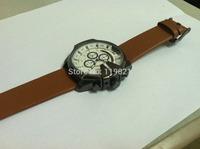 2014 DIESELER steel dial quartz watch men's fashion calendar movement sports watch with brown leather watch DZ4280