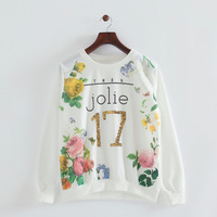 2014 girl jolie 17 cotton sequined letter rose flowers white sweatshirts o-neck long sleeves pullovers 473012