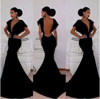 2014 Sexy V Neck Black Long Evening Dresses Mermaid Fashion Prom Dresses Party Evening Elegant dress PD0151