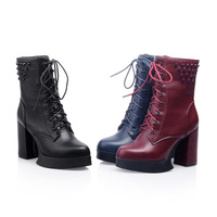 Platform women chunky autumn fashion lace up PU leather ankle boots black blue red size 39 free shipping
