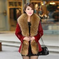 M-3XL(Red+Black+Green+White)Free Shipping 2014 Winter oversized fur collar long Design high imitation rabbit fur coat 140928#8