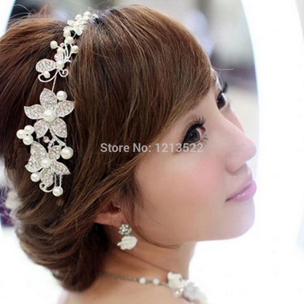 Bridal Bridesmaid Pearl Diamante Butterfly Love Flower Headband Wedding Tiara