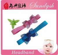 Latest Fashion Blue And Pink Baby Teen Hairbands Elastic Hair Bow Headband