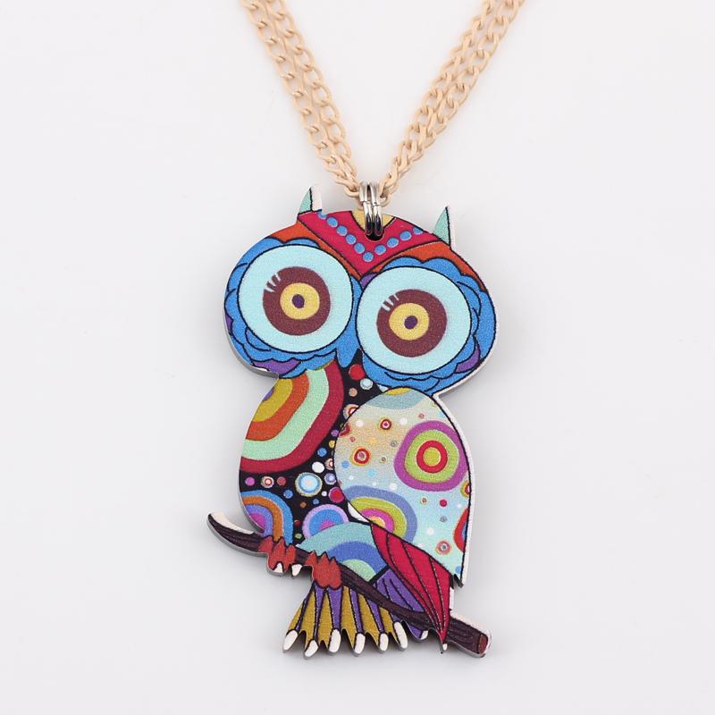 owl necklace acrylic colorful new 2014 lovely cute animal bird pendant fashion girls woman winter jewelry Free shipping(China (Mainland))