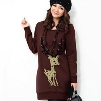 Free Shipping ! Women Korean Splendid 2014 Casual Hooded jacket ,Female Fashion Thick Slim Elegant Sweatshirt  L XL XXL XXXL 4XL