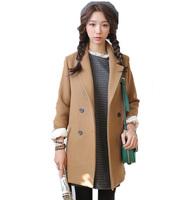 Free Shipping ! 2014 Women Korean New Winterand Autumn Fashion Coat Jacket ,Female Slim Long Double-breasted Outwear L XL XXL