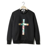 2014 winter men brand loose casual crosses printed warm wear man sweatshirts for winter long sleeve pullover neoprene top Y05512