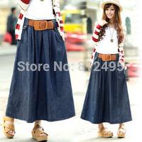 New Long denim Skirt with girdle Elastic waist long pleated Leisure washed Denim expansion Skirts
