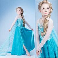 Girls dresses new 2014 Frozen Elsa Anna costume princess dress sequined cartoon costume Free shipping