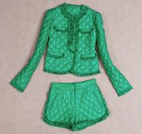 New 2014 Women Jacket Down Coat Set Women Winter Ruffles lace flower Cotton-padded Suit Coat+Pants Women Clothing Sets plus size