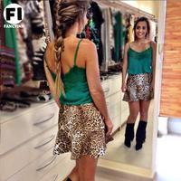 Fancyinn 2014 New Arrival Fashion Summer Women Green Lace V-Neck Vest women Blouses Cute Blusas  Tops^&