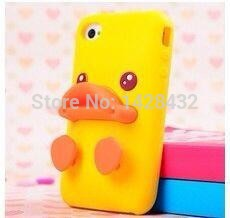 2015 quality lovely mobile phone bag protective shell 3D cute mini duck phone leather cases silicone cover for iPhone 4G 5G(China (Mainland))