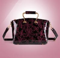 New Tide 2014 Fall Women Butterfly-printed Handbag Enamelled Leather Female shoulder Bag Fashion Messenger Bag Vintage Lady tote