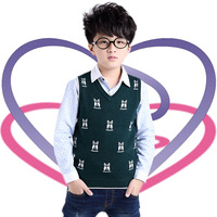 Popular  Brand new winter Korean version of the cartoon boy spell color V-neck sweater