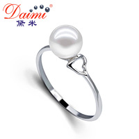 DAIMI 6-7mm White /Purple Freshwater Pearl 925 Sterling Silver Ring Free Shipping Brand jewelry FAY