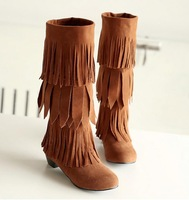 hot 2014 new fashion Fringe Tassels ladies shoes women flats Mid-Calf Slouch women boots girl autumn big plus size 40 41 42 43