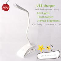Free shipping LED light USB rechargeable eye protection Led desk lamps Kids study reading Lamp table lighting book light