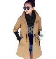 Free Shipping ! 2014 Women Korean Long Slim Fashion Elegant Coat Windbreaker ,Female Spring Casual Zipper Trench M L XL XXL XXXL