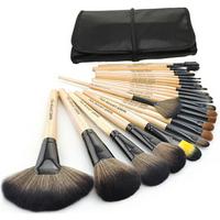 Professional 24 pcs Face Makeup Brush Set with Black Leather Bag Make Up Brushes Free Shipping Wholesale