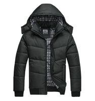 2014 Hot Outwear Mens Warm Hoodie Hooded Parka Winter Coat Outwear Down Jacket Coat Fashion Black Men's Hooded Down Jacket
