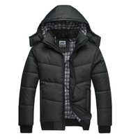 2014 Hot Outwear Mens Warm Hoodie Hooded Parka Winter Coat Outwear Down Jacket Coat Fashion Black Men's Hooded Down Jacket