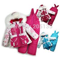 2014 New Winter Children clothing set kids warm coat jacket+pants+vest baby cotton suit skiwear 3pcs in 1 retail