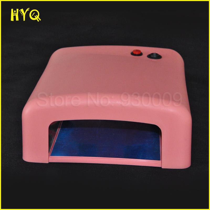 Hot Sale 1Pcs 36W 110v-220V Nail Art Drye Nail Gel Polisher Dryer Pink UV Lamp Gel Curing Lamp Light Dryer Free Shipping(China (Mainland))