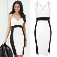 New 2014 Black White Patchwork Strap Celeb Women Office Pencil Bandage Dress Vestidos De Renda Feminino Sexy Party Dresses H047