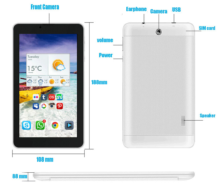 Aoson 701TG 7 inch MTK8312 dual core Android 4 4 512M 4GB GPS BLUETOOTH FM GSM