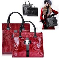 new snake patent leather retro woman handbags crocodile cheap office bag designer handbags high quality black red H tote bag