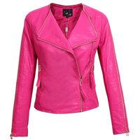 Women Leather Jacket New Autumn Slim Faux Leather PU motorcycle Coat Ladies Pink Black Coat S-XL
