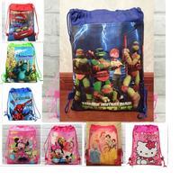 2015 big hero 6 violetta Ninja Turtles minion non-woven string backpack for kids boy girl children's school bag birthday gift