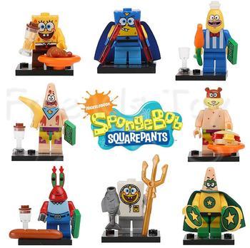 8pcs Sponge Bob SquarePants Patrick Star Building Bricks Blocks Figures Minifigures Kids Learing Toys Compatible With Lego