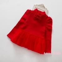 2014 New,girls princess dress,children red christmas dress,long sleeve,bow,with velvet,5 colors,5 pcs/lot,wholesale,1853