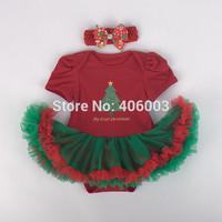 2014 fashion infant cotton romper+headmand set red dress tutu baby girl christmas dress free shipping