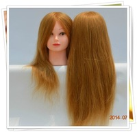 """Free Shipping hair mannequin head Golden Blonde Female 21"""" Real Human Hair Hairdressing Mannequin Training Head High Quality"""
