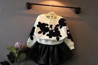 wholesale(5pca/lot)-2015 autumn black flower white long sleeves pullover shirt for 2-7 years child girl
