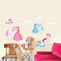 [Saturday Mall] - Princess White Horse wall stickers cute cartoon nursery girl bedroom wall decor decals removable pvc 5312