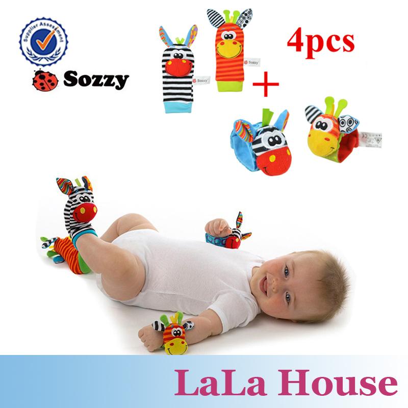 chegada new hot venda wrist chocalho chocalhos e meias pé 4 pcs/lote frete grátis novo estilo do bebê chocalho brinquedos(China (Mainland))