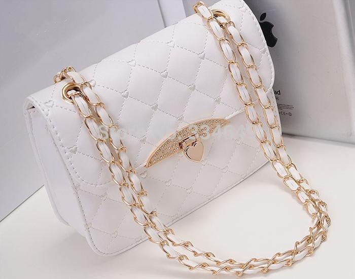 2015 Free Shipping Hot Sell Women Leather Peach Heart Chain Evening Messenger Handbag Shoulder Bag(China (Mainland))