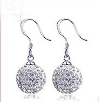 925 sterling silver 12mm cubic zirconia jewelry brincos grandes women drop earrings SKY-14