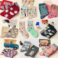 New creative cartoon animal park cotton socks female socks story socks  10351 mixed sale of 10 pair